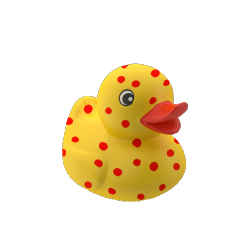 yellow rubber duck with chickenpox